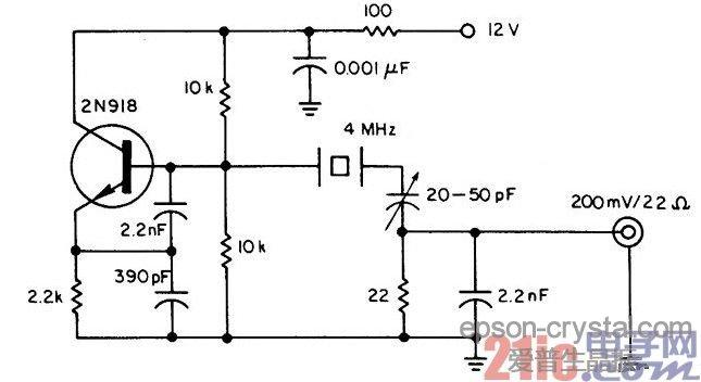 电路图,该振荡器的输出具有高光谱纯度,并且很稳定。晶体管除了决定振荡器的频率,还可用作一个不期望谐波的低通滤波器,和边带噪音的带通滤波器。噪音带宽限制在低于100Hz。所有更高的谐波实际上为4MHz的基本振荡频率的第三谐波抑制60dB。石英晶体振荡器是信号源的核心所在。在构建各种电子设备及通信系统设备等过程中,石英晶体振荡器周围的电路结构及设计对系统能否最大程度发挥功能起着重要的作用。特别是石英晶体振荡器周围电路,由于将在搭载数字电路的基板上以最高速度开关工作,较易产生噪音,所以设计电路之际必须对此十分注